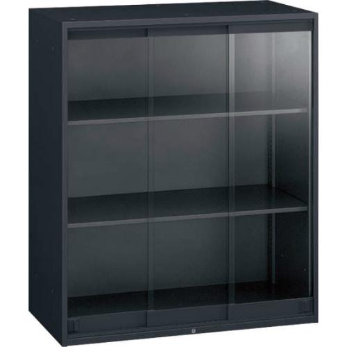 オカムラ レクトライン ブラックタイプ ガラス3枚引き違い書庫 上置き用 W900×D450×H1050 4B43AC-ZH25