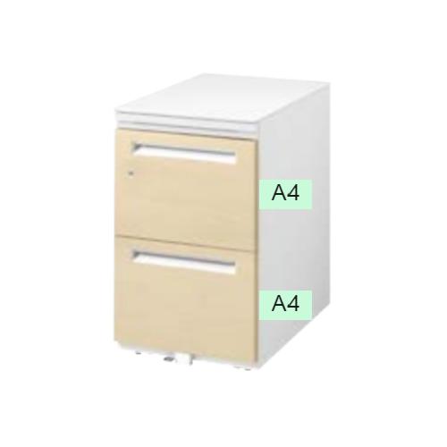 ウチダ STワゴン 木目タイプ シリンダー錠タイプ A4-3段 オフホワイト W396×D585×H650 ST-A4-3-650SK/5-118-5313