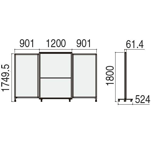 ウチダ ホワイトボードタイプ エラスティック ESWB-1812 WB仕様 W3002×H1800 5-600-106