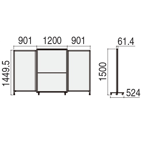 ウチダ ホワイトボードタイプ エラスティック ESWB-1512 WB仕様 W3002×H1500 5-600-107