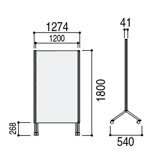 ウチダ パーテーション・衝立 DS2シリーズ DS2パネル クロスボードパネル W1233×H1807 CB-1812 6-401-3160