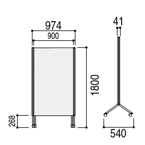 ウチダ パーテーション・衝立 DS2シリーズ DS2パネル クロスボードパネル W974×H1807 CB-1809 6-401-3161
