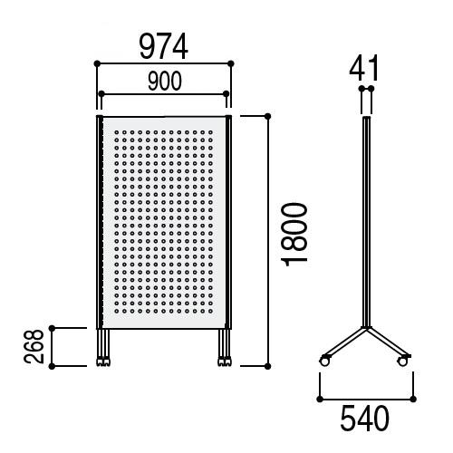 ウチダ パーテーション・衝立 DS2シリーズ DS2パネル 有効ボードパネル W933×H1807 PB-1809 6-401-3171