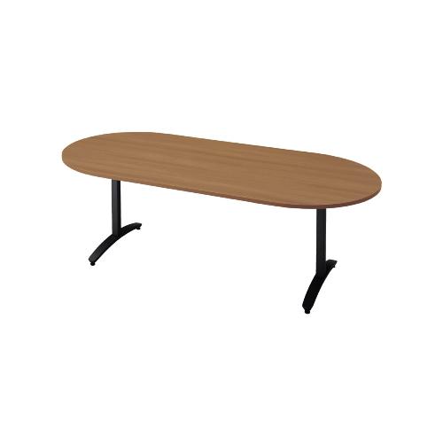 プラス ロンナ(ronna) 標準天板 T字脚 長円形 配線口なし ミーティングテーブル W2100×D1000×H720 NN-2110TAO