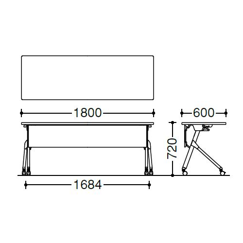 オカムラ フラプターテーブル サイドフォールディングテーブル 棚板なし 幕板付 81F1AB サイズ