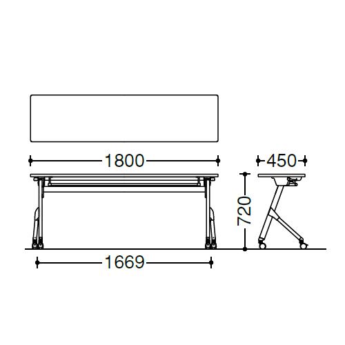 オカムラ フラプターテーブル サイドフォールディングテーブル 棚板なし 幕板なし 81F1AX サイズ