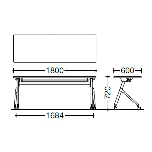 オカムラ フラプターテーブル サイドフォールディングテーブル 棚板なし 幕板なし 81F1AY サイズ