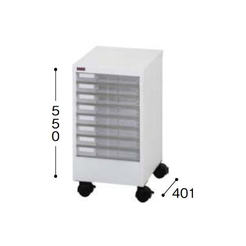 ナイキ パンフレットケース A4タイプ キャスター付 浅型1列8段 W303×D401×H550mm A4PT-108NLC