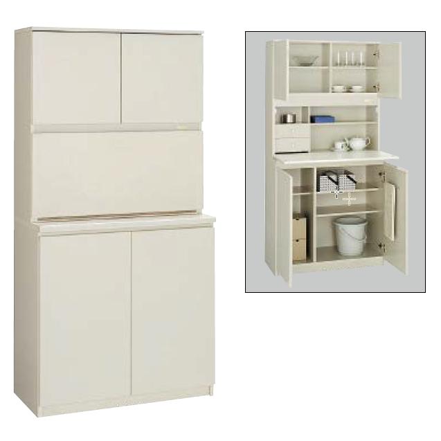 コクヨ KOKUYO ビジネスキッチン 木製食器収納ユニットW900×D450×H1800 BK-W110F1N3/BK-W110PP2N3