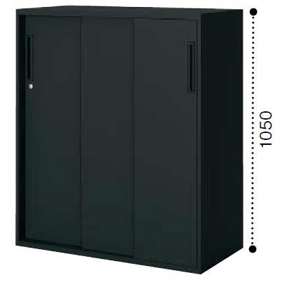 コクヨ KOKUYO エディア〈ブラックタイプ〉H1050タイプ 3枚引き違い戸 下置き ベース必要 W900×D450×H1050 BWU-HD359F6