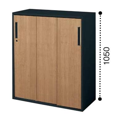コクヨ KOKUYO エディア EDIA 3枚引き違い戸 下置き ベース必要書庫 木目タイプ 本体色ブラック W900*D450*H1050 BWU-HD359F6EP2/BWU-HD359F6EG5