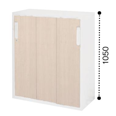 コクヨ エディア 3枚引き違い戸 下置き 木目タイプ 本体色ホワイト 扉色ホワイトナチュラル BWU-HD359SAWE10