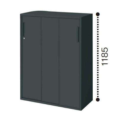 コクヨ エディア ブラックタイプ H1185タイプ 3枚引き違い戸 下置き W900×D450×H1185 BWU-HD369E6C