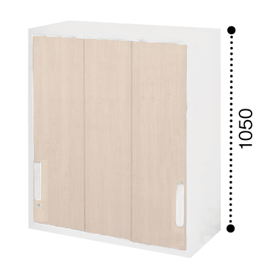 コクヨ エディア 3枚引き違い戸 上置き 木目タイプ 本体色ホワイト 扉色ホワイトナチュラル BWU-HU358SSAWE10