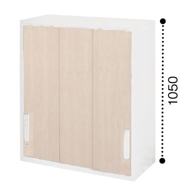 コクヨ エディア 3枚引き違い戸 上置き 木目タイプ 本体色ホワイト 扉色ホワイトナチュラル BWU-HU359SAWE10