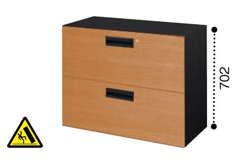 コクヨ KOKUYO エディア EDIA ラテラル2段 下置き書庫 ベース必要 木目タイプ 本体色ブラック W800*D400*H702 BWU-L2A38SF6DP2/BWU-L2A38SF6DG5