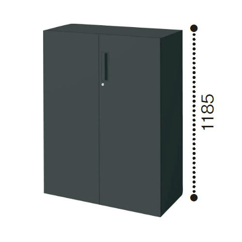コクヨ エディア ブラックタイプ H1185タイプ 両開き扉 下置き W900×D450×H1185 BWU-SD69E6C