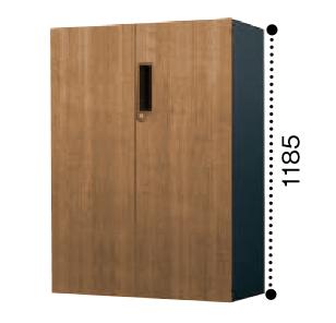 コクヨ エディア 両開き扉 下置き書庫 ベース必要 木目タイプ 本体色ブラック BWU-SD69E6CDP2/BWU-SD69E6CDG5