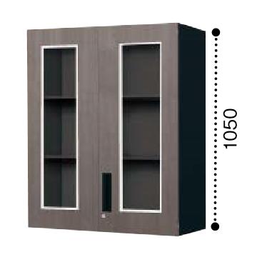 コクヨ エディア ガラス両開き扉 上置き書庫 木目タイプ 本体色ブラックBWU-SGU59E6CDP2/BWU-SGU59E6CDG5