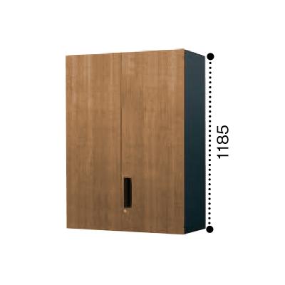 コクヨ エディア 両開き扉 上置き書庫 木目タイプ 本体色ブラック BWU-SU69E6CDP2/BWU-SU69E6CDG5