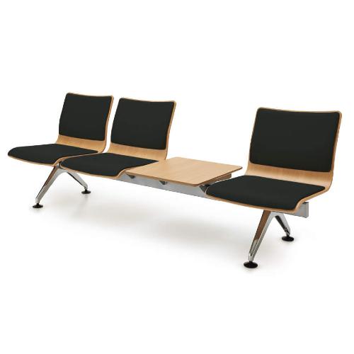 コクヨ 7700シリーズ ロビーチェアー 3人用テーブル付 エコPVCレザー張り W2270×D648×H785 CN-7704TVZ