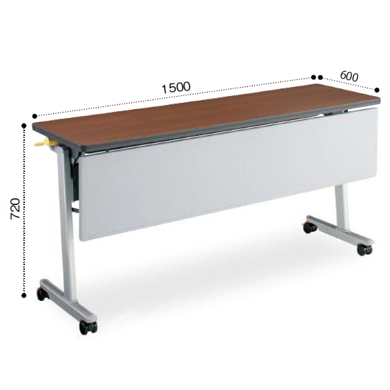 コクヨ KOKUYO ミーティングテーブル LISMA リスマ フラップテーブル(パネル付きタイプ)天板フラップ式 棚なし W1500×D600×H720 KT-P1103