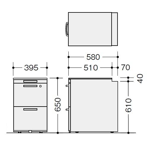 ナイキ ウエイク(テーブルシステムWK型) ワゴン(ハイタイプ) W395×D580×H650 シリンダー錠 TR046HC