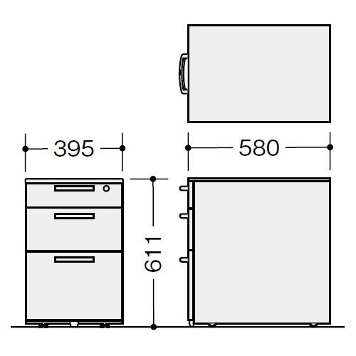 ナイキ ウエイク(テーブルシステムWK型) ワゴン W395×D580×H611 シリンダー錠 TR046XC