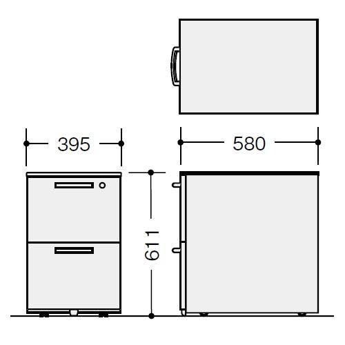 ナイキ ウエイク(テーブルシステムWK型) ワゴン W395×D580×H611 シリンダー錠 TR046YC