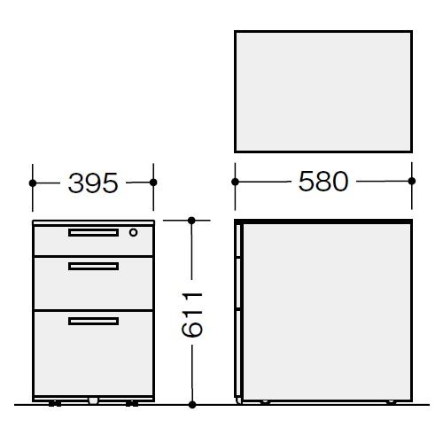 ナイキ ウエイク(テーブルシステムWK型) ワゴン W395×D580×H611 シリンダー錠 TRH046XCK