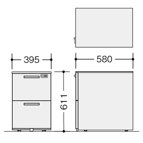 ナイキ ウエイク(テーブルシステムWK型) ワゴン W395×D580×H611 ダイヤル錠 TRH046YCD