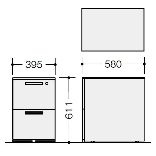 ナイキ ウエイク(テーブルシステムWK型) ワゴン W395×D580×H611 シリンダー錠 TRH046YCK