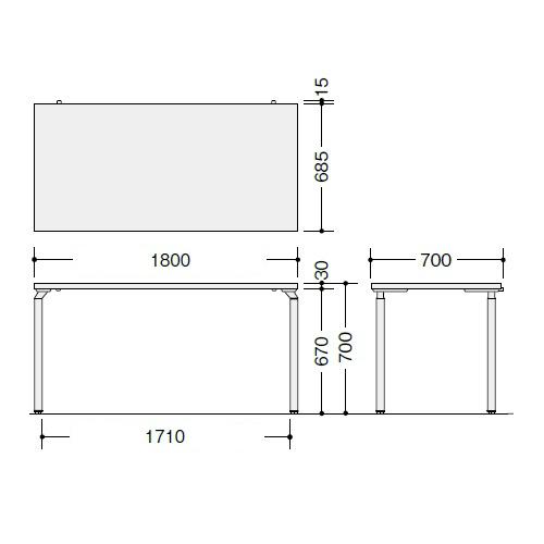 ナイキ ウエイク(テーブルシステムWK型) テーブル W1800×D700×H700 WK187F-SVH/WK187F-SVS