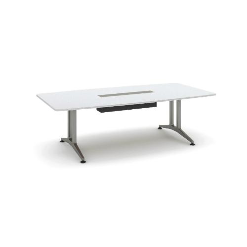 コクヨ 応接会議用テーブル ボート形 メラミン 配線付き WT-200シリーズ W2400×D1200×H720 WT-B210