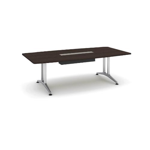 コクヨ 応接会議用テーブル ボート形 突板 配線付き WT-200シリーズ W2400×D1200×H720 WT-WB210