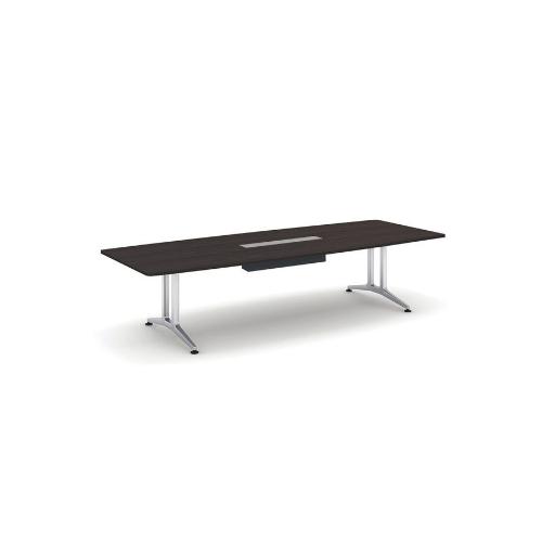コクヨ 応接会議用テーブル ボート形 突板 配線付き WT-200シリーズ W3200×D1200×H720 WT-WB211