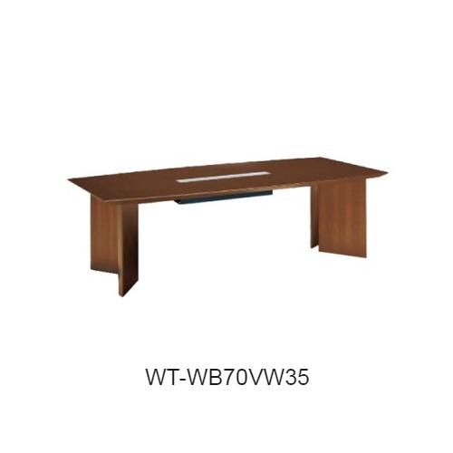 コクヨ 会議用テーブル WT-70シリーズ V字脚 ボート形天板 配線ボックスタイプ W2400×D1200×H720 WT-WB70V
