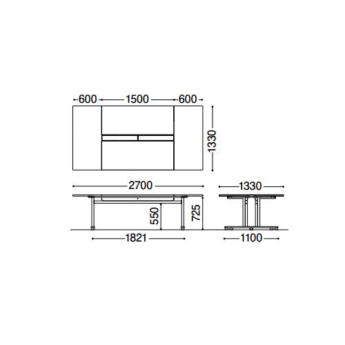 ジョインテックス jointex フリーアドレスデスク ダイセン 大型ワークテーブル W2700D1330 YW-2713W 707-029