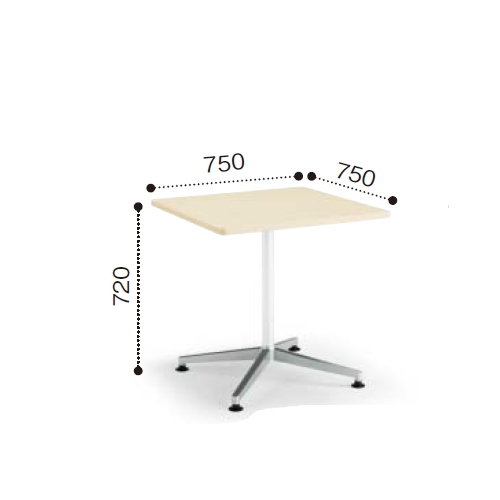 コクヨ  ミーティングテーブル JUTO ジュート 単柱脚 ポリッシュ脚 角形 正方形天板 ラウンドエッジ アジャスタータイプ MT-JTJR77P