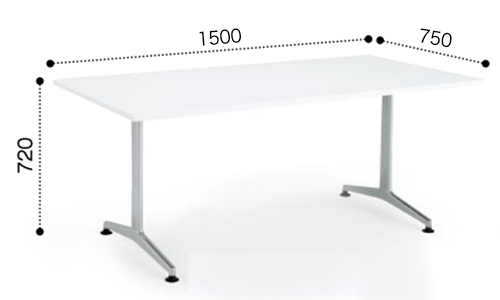 コクヨ KOKUYO ミーティングテーブル JUTO T字 塗装脚 角形天板 アジャスタータイプ スクエアエッジ W1500×D750×H720 MT-JTT157