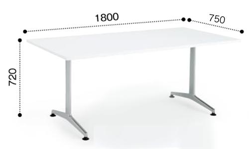 コクヨ KOKUYO ミーティングテーブル JUTO T字 塗装脚 角形天板 アジャスタータイプ スクエアエッジ W1800×D750×H720 MT-JTT187