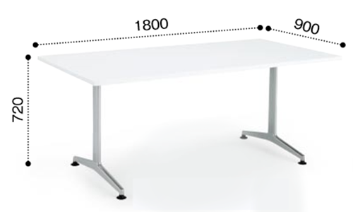 コクヨ KOKUYO ミーティングテーブル JUTO T字 塗装脚 角形天板 アジャスタータイプ スクエアエッジ W1800×D900×H720 MT-JTT189