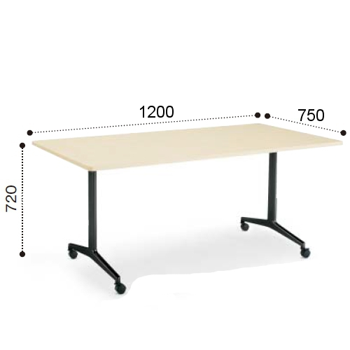 コクヨ ミーティングテーブル JUTO ジュート T字 塗装脚 角形天板 キャスタータイプ ラウンドエッジ W1200×D750×H720 MT-JTTR127