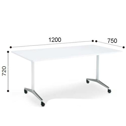 コクヨ ミーティングテーブル JUTO ジュート T字 ポリッシュ脚 角形天板 キャスタータイプ ラウンドエッジ MT-JTTR127P