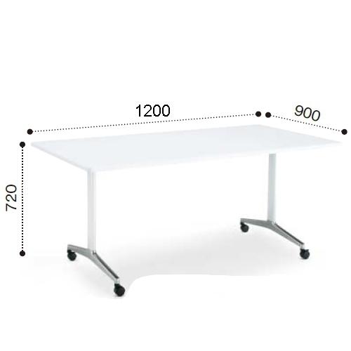 コクヨ ミーティングテーブル JUTO ジュート T字 ポリッシュ脚 角形天板 キャスタータイプ ラウンドエッジ MT-JTTR129P