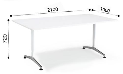 コクヨ KOKUYO ミーティングテーブル JUTO  T字 ポリッシュ脚 角形天板 アジャスタータイプ ラウンドエッジ W2100×D1000×H720 MT-JTTR211P