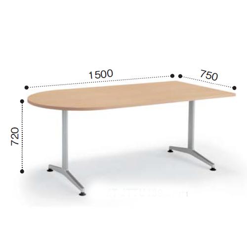 コクヨ ミーティングテーブル JUTO ジュート T字脚 塗装脚 U字形天板 アジャスタータイプ W1500×D750×H720 MT-JTTU157