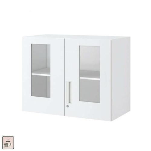コクヨ エディア(EDIA) スタンダード ガラス両開き扉 上置き書庫 W900×D450×H702 BWU-SGU39SAW