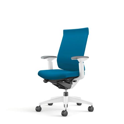 コクヨ ウィザード3チェア ホワイト樹脂脚 ハイバック 可動肘 布張り ホワイトシェル CR-W3633E1G4