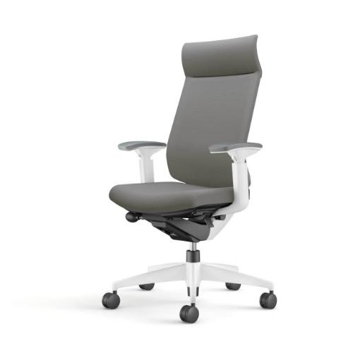 コクヨ ウィザード3チェア ホワイト樹脂脚 ミドルマネージメント 可動肘 布張り ホワイトシェル CR-W3635E1G4